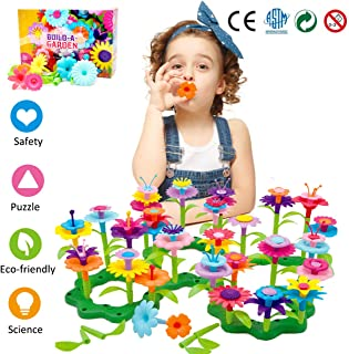 Binteng Flower Building Toys Set for Girl 98 Pcs Creative Preschool Educational Toys Garden Bouquet Blocks Playset Kids Christmas Birthday Gifts for 3 4 5 6 7 Year Old