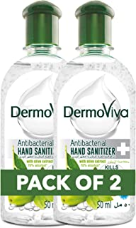 DermoViva Hand Sanitizer; Instantly Kills 99.9% Germs; Olive; 70% Alcohol; 50ml; Pack of 2