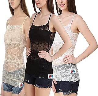 GRAPPLE DEALS Combo of 3 Elegant Full Net Floral Camisole Light Padded Vest Bralette Camisole for Women.