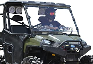 SuperATV Heavy Duty Scratch Resistant Vented Full Windshield for Polaris Ranger Full Size XP 800 / Crew 800/800 6x6 (2010-2016) - Hard Coated for Long Life!