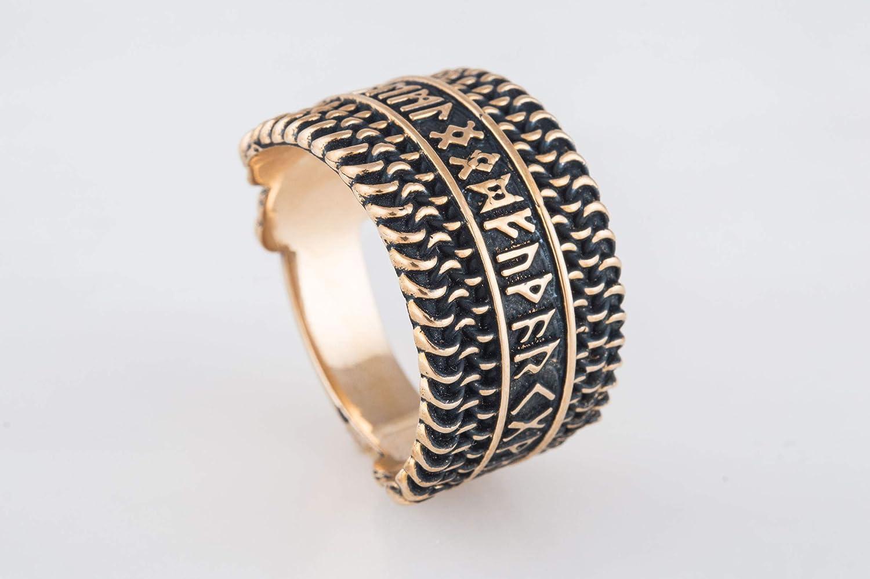 Hauberk Viking Ring with Super-cheap Elder Broze Runes Unique Jewelr Futhark Some reservation