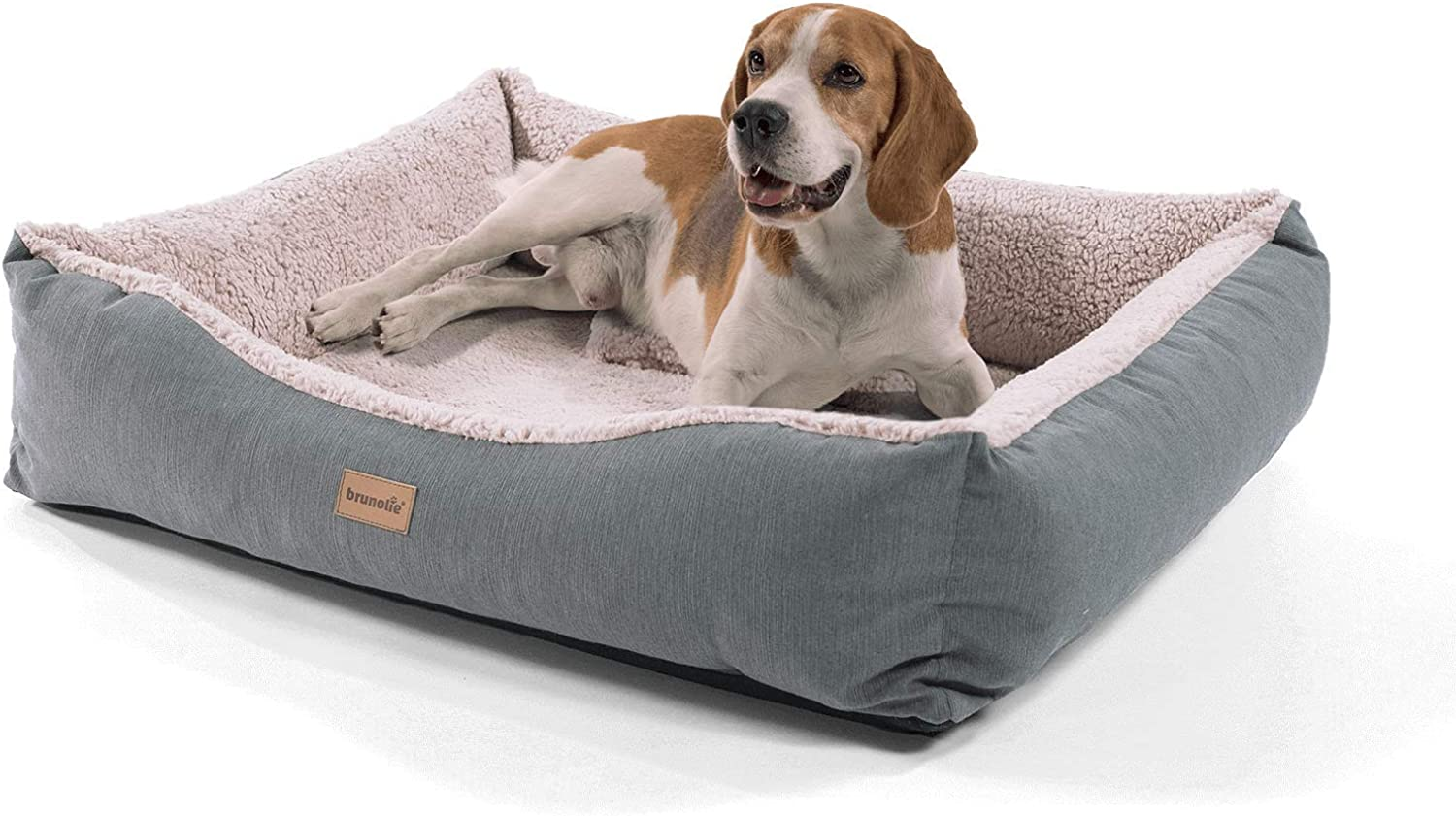 """Brunolie """"Emma"""" medium dog basket in grey – washable, hygienic and antislip dog bed with cosy plush and pillow, size M"""