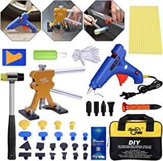 Fly5D 50Pcs Auto Body Paintless Dent Removal Tools Kit Pops a Dent Puller Upgraded Adjustable Gold Dent Lifter Kit Set for Car Hail Damage and Door Dings Popper Repair