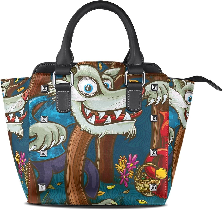Women's Top Handle Satchel Handbag Big Wolf and Scary Little Skeleton Ladies PU Leather Shoulder Bag Crossbody Bag