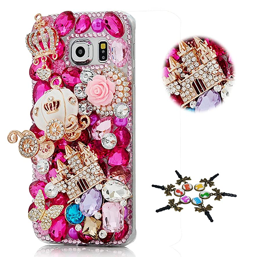 STENES Galaxy J7 Case - STYLISH - 100+ Bling Crystal - 3D Handmade Crown Pumpkin Car Castle Butterfly Rose Flowers Cover Case For Samsung Galaxy J7 2017/J7 Sky Pro/J7 Perx/J7V 2017/J7 Prime/Halo - Red