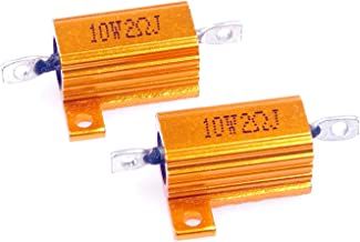 LM YN 10 Watt 2 Ohm 5% Wirewound Resistor Electronic Aluminium Shell Resistor Gold for Inverter LED lights Frequency Divider Servo Industry Industrial Control 2-Pcs