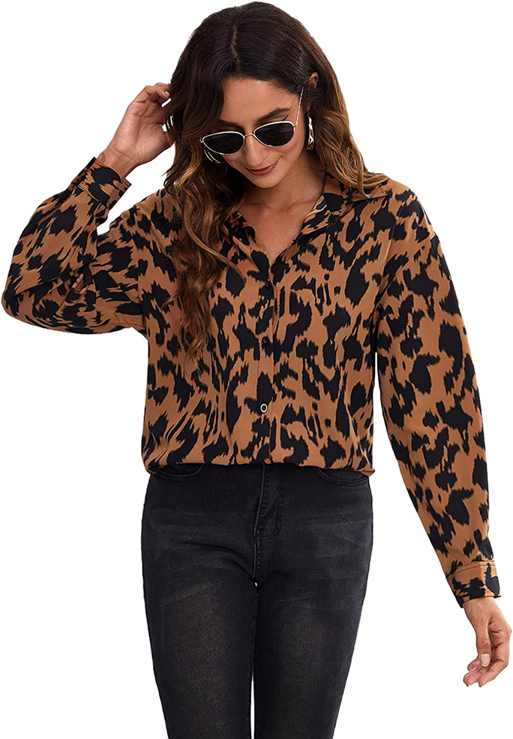 Romwe Women's Allover Print Long Sleeve Collar Button Down Work Shirts Blouses Tops