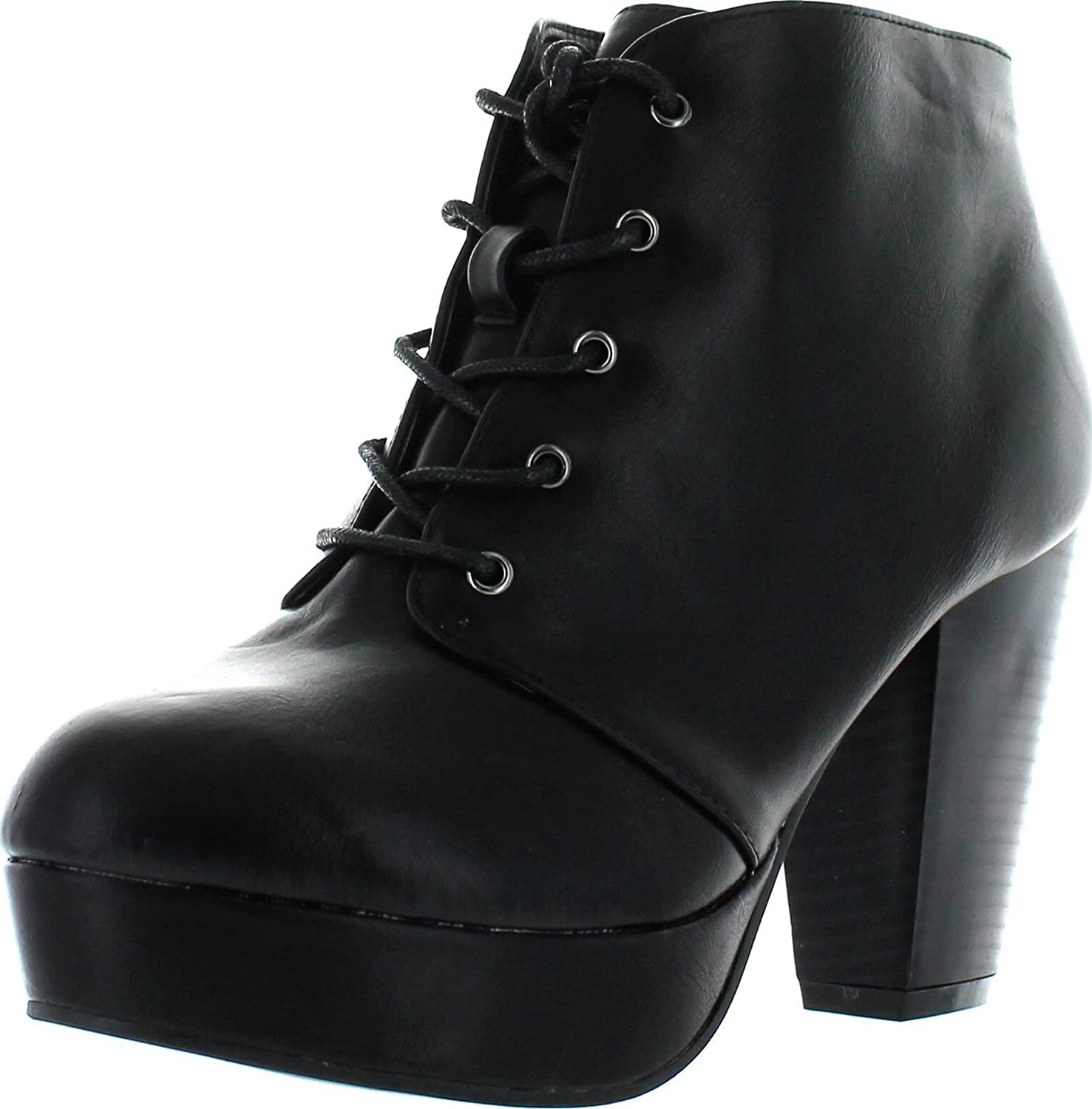 Titan Mall Forever Camille-66 Womens Fashion Chunky Heel Lace up Ankle Booties