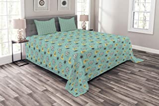 Lunarable Mid Century Modern Bedspread, Vintage Space Themed Scientific Galaxy Stars, Decorative Quilted 3 Piece Coverlet Set with 2 Pillow Shams, Queen Size, Charcoal Grey Coconut Mustard Seafoam