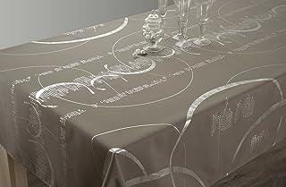 Le linge de Jules Nappe Shiny - Entretien Facile Taupe - Taille : Rectangle 150x240 cm