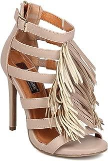 DBDK Women Leatherette Open Toe Strappy Fringe Stiletto Sandal EH17 - Nude