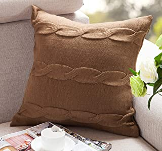 ANDUUNI Cotton Knitted Double-Cable Warm Throw Pillow Case Cushion Cover for Bed Sofa Couch Decoration (Cover Only, Light Coffe)