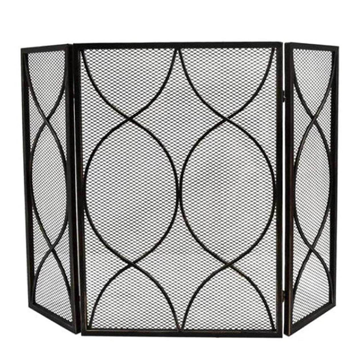 オーナー赤面旅客暖炉スクリーン 折り畳み 暖炉スクリーン 3パネル フラットガード 金属メッシュカバー付き - リビングルーム 赤ちゃん 安全な暖炉フェンス スパークガード、 ブラック (Color : Black)