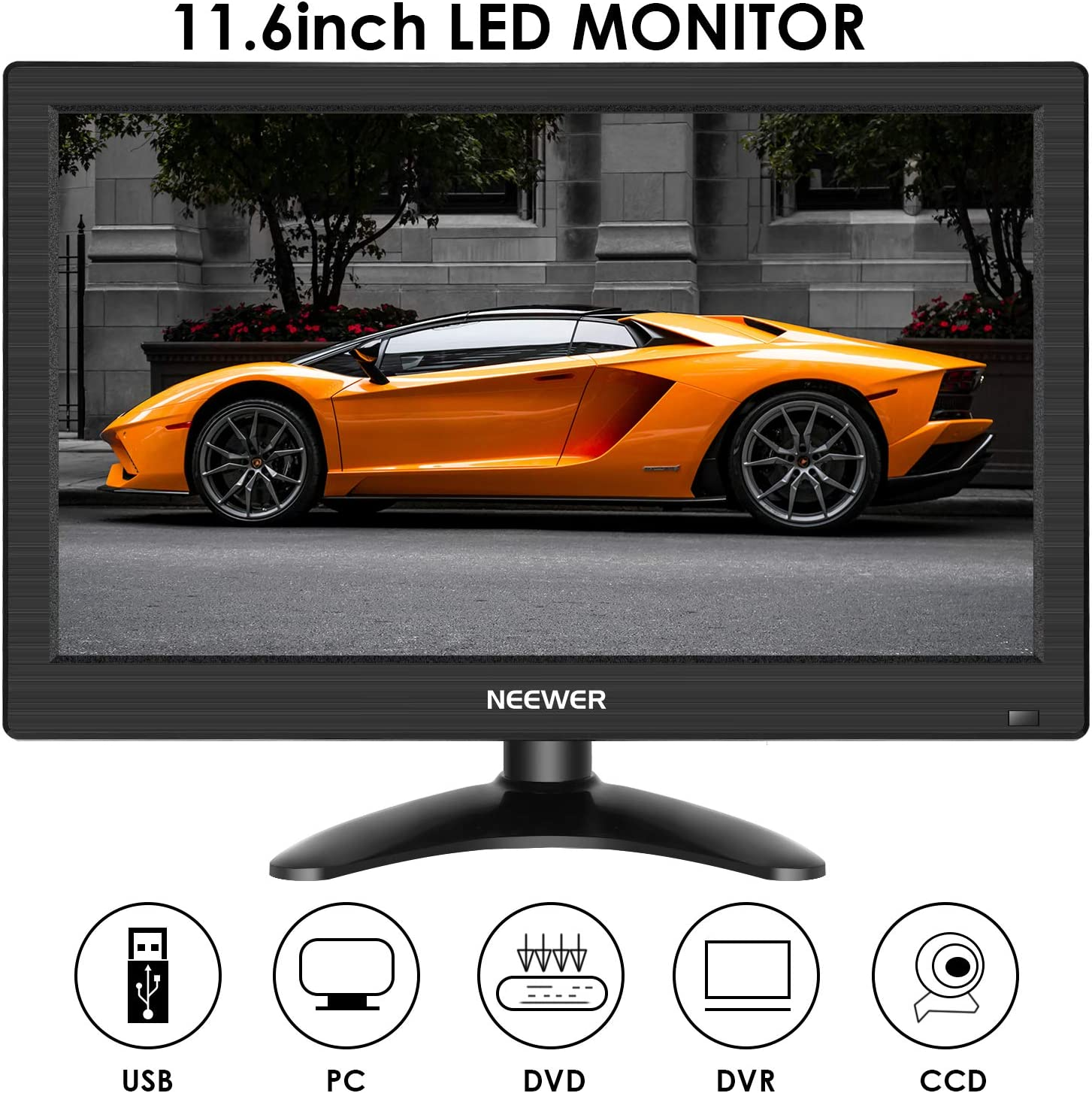 Neewer F11 11.6 inches 1080P HD Monitor 1920x1080 16:9 TFT IPS LCD Screen with USB HDMI VGA BNC AV Input,Built-in Speaker for Car Laptop PC Gaming Computer DVR FPV CCTV Camera Home Security System