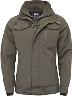 Crosshatch 2k18Oct Mens Jacket Double Zipped Padded Coat Funnel Neck Army Style Jacket[Thyme Army,M]