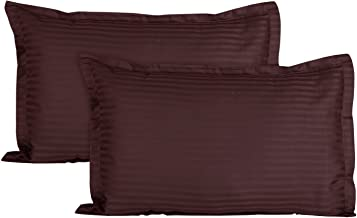 Uppercut Luxurious 100% Cotton Breathable Striped Pillow Covers - 300 Thread Count, 18 x 28 inch - Chocolate Brown, Set of 2