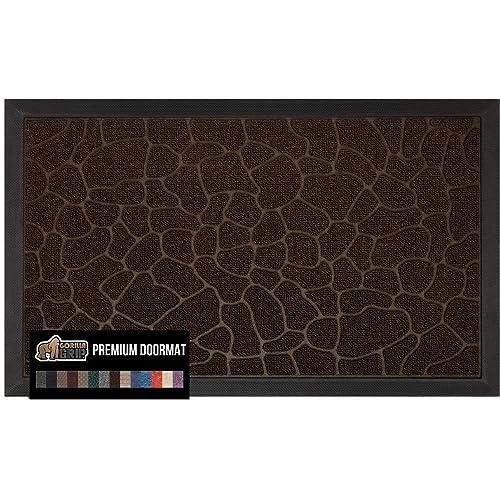 Gorilla Grip Original Durable Natural Rubber Door Mat, 29x17 Heavy Duty Doormat, Indoor Outdoor, Waterproof, Easy Clean Low-Profile Mats for Entry, Garage, Patio, High Traffic Areas, Dark Brown Pebble