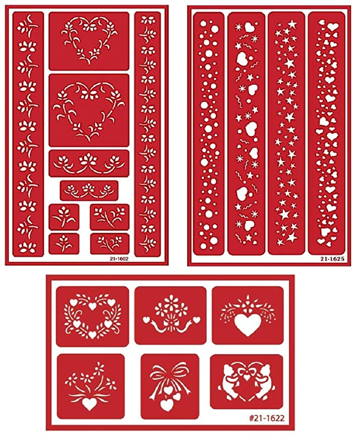 3 Armour Etch Over N Over Reusable Glass Etching Stencils Set | Heart, Floral, Star, Circle Borders and Patterns