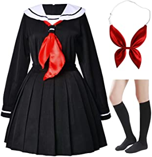 Elibelle Japanese Anime School Girls Uniform Dress Sailor Suit Lolita Cosplay with red Bowtie Socks Set(SSF24)