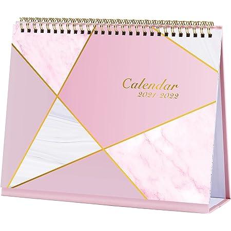Calendario da tavolo 2021, calendario 2021, mese da visualizzare con 2 tasche, da gennaio 2021 a dicembre 2021, elenco cose da fare, 26,5 x 21,5 x 8,5 cm