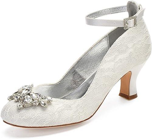 Zxstz Damen Chunky Heel Schuhe Stretch Satin Frühling Herbst Bombas Hochzeit Schuhe Blockabsatz Runde Zehe Kristall Perle Elfenbein