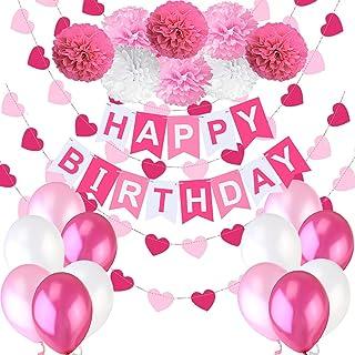 """Decoraciones Cumpleaños Nina – 1 Bandera Banderines Feliz Cumpleaños """"Happy Birthday"""" + 8 Pompon Bola de Flor + 2 Guirnald..."""