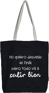 Hello-Bags Bolso Tote. Algodón 100%. Negro. con Cremallera, Forro y Bolsillo Interior. 37 * 38 cm + (asa: 28 cm). Incluye ...