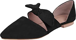 Huiyuzhi Womens Pointed Toe Ballet Flat Comfort Slip On Bow Tie Cute Leather Mule Shoes
