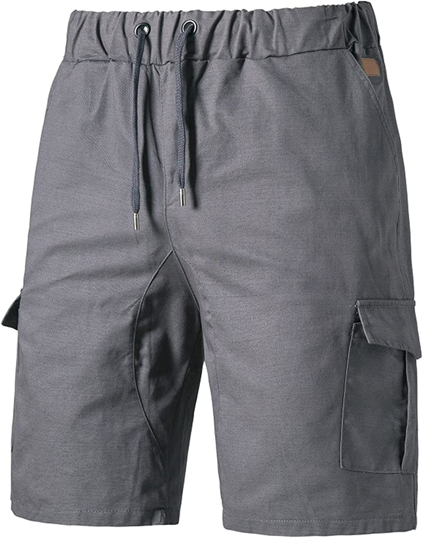 Mens Loose Elastic Waist Cargo Shorts Summer Multi-Pocket Twill Short Outdoor Workout Drawstring Straight Short-pant