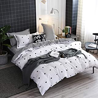 Omelas Kids Heart Love Queen Duvet Cover Set Black and White Teens Girls Lovely Heart-Shaped Pattern Striped Reversible Full/Queen Bedding Soft Breathable Quality Brushed Microfiber (3 Pcs,XD,Q)