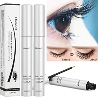 Homost Eyelash Growth Serum 2pcs Set, Natural Lashes Eyebrows Booster Growth Ehancer for Long, Thick Lashes and Eyebrows, Updated Formula With Fast Result