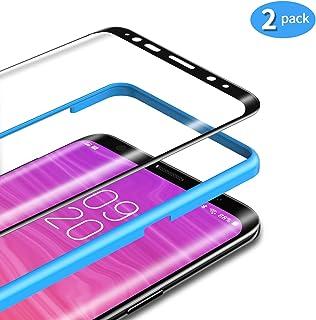 TAMOWA [2-pack skärmskydd för Samsung Galaxy S8 Plus, 3D-rundat premium härdat glas 9H skottsäkert skyddsfilm med installa...