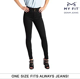My Fit Jeans- SIZE 2-12 BLACK: Women's Stretch Denim Jeans with Pockets and the Comfort of Leggings, Petite through Plus Size
