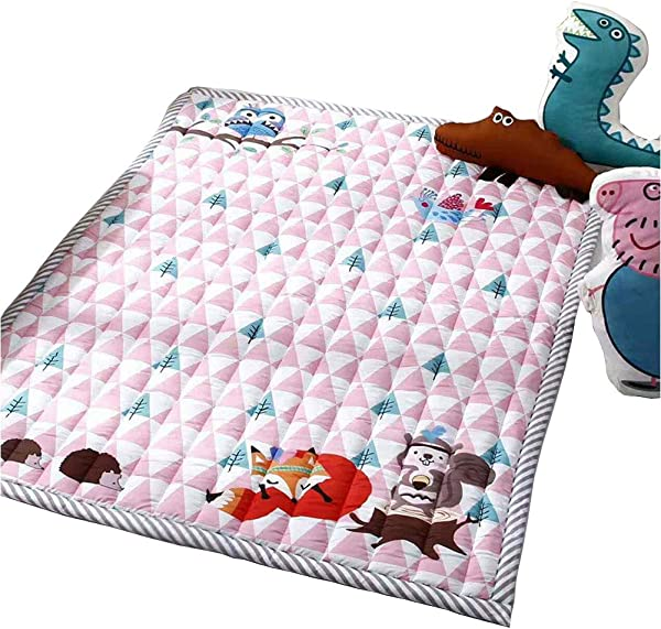 Prula Kids Teepee Mat Machine Washable Children Antiskid Play Mat Non Slip Thicken Carpet Kids Bedroom Decor Pink