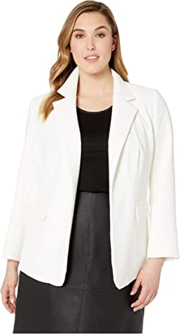 Plus Size Parisian Crepe Notch Collar Blazer