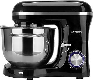 Arebos köksmaskin 1500 W med 6 L kylskål i rostfritt stål   omrörning   knådkrok   slagbeslag och stänkskydd   6 hastighet...