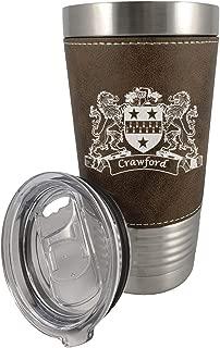 Crawford Irish Coat of Arms Leather Travel Mug