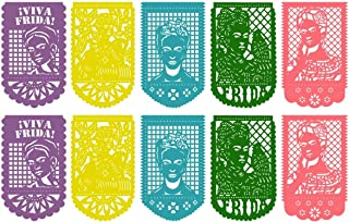 2 Pack – Frida Kahlo Large Plastic Mexican Papel Picado Banner – 20 Panels – 16 Feet Long/Pack - Mexican Party Supplies Decorations – Multicolor