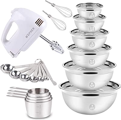 Electric Hand Mixer Mixing Bowls Set, Upgrade 5-Speeds Mixers with 6 Nesting Stainless Steel Mixing Bowl, Measuring Cups and Spoons Whisk Blender -Kitchen Baking Supplies For Cooking Bake Beginner