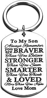 Mom to Son Stocking Stuffer Inspirational Keychain Birthday Christmas Graduation Valentines Presents for step Son Him Teen...