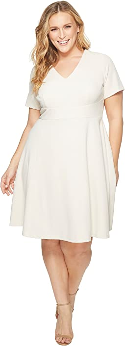 Donna Morgan Plus Size Fit and Flare Crepe Dress with Cap Sleeve