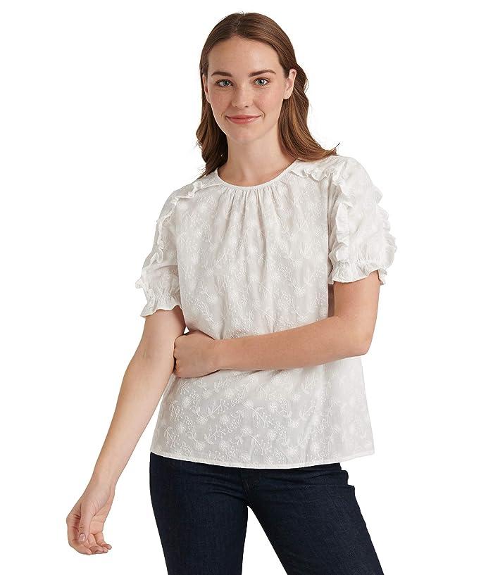 Lucky Brand  Short Sleeve Crew Neck Lauren Ruffle Top (Lucky White) Womens Clothing