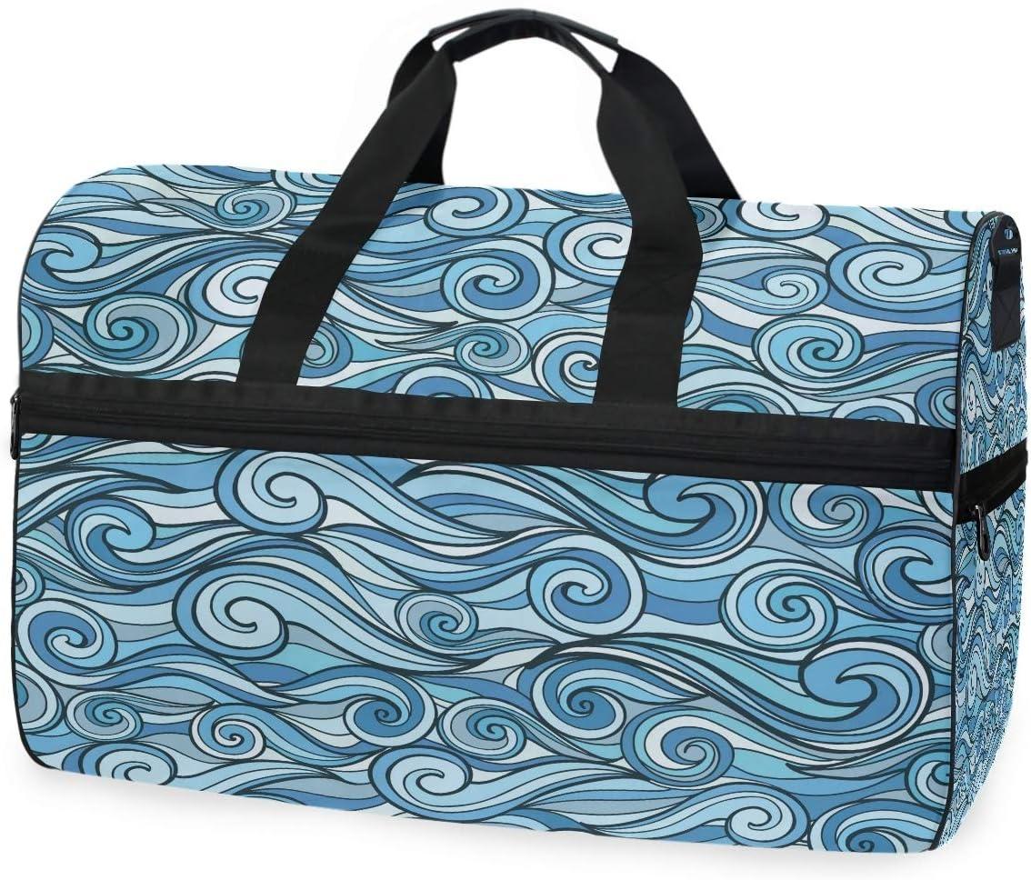 Travel Limited time cheap sale Duffel Max 47% OFF Bag Blue Sea Art Luggae Waves Ocean Sports