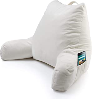 Keen Edge Home Reading Pillow with Arms and Pocket - Shredded Memory Foam - Read and Watch TV in Comfort While in Bed, Sitting, Lounge and Relax Without Back Pain with Support, Large Backrest/Husband