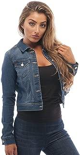 Womens Basic Button Down Denim Jean Jacket (Large,...