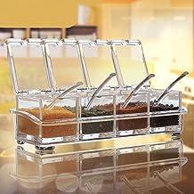 أوعية توابل شفافة رف التوابل من AIQI - 4 قطع صندوق توابل أكريليك - برطمانات توابل حاوية التخزين - كروت مع غطاء وملعقة