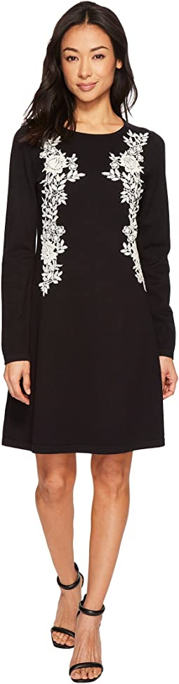 CeCe - Embroidered Lace A-Line Sweater Dress