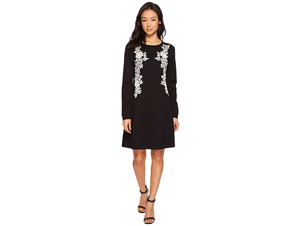 CeCe Embroidered Lace A-Line Sweater Dress (Rich Black) Women