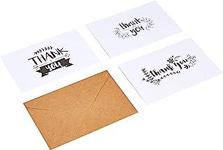 Amazon Basics Thank You Cards, Black and White, 48 Cards and Envelopes