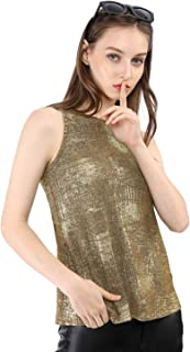 1a153e7abe5f3d Allegra K Women's Metallic Shiny Tank Top Party Club A-Line Shimmer Camisole  Vest